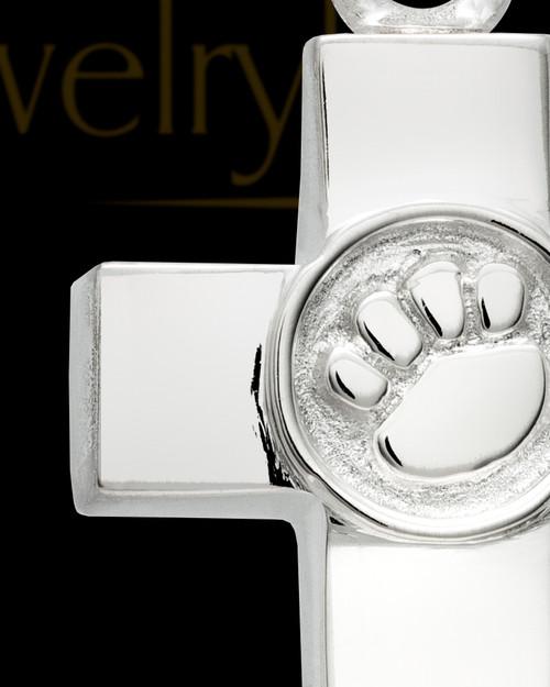 14K White Gold Dedication Paw Cross Keepsake Pendant, 14K