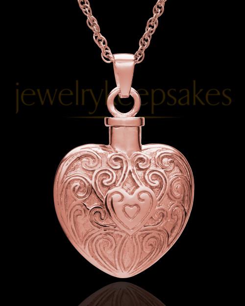Memorial Pendant 14K Rose Gold Love Filigree Heart