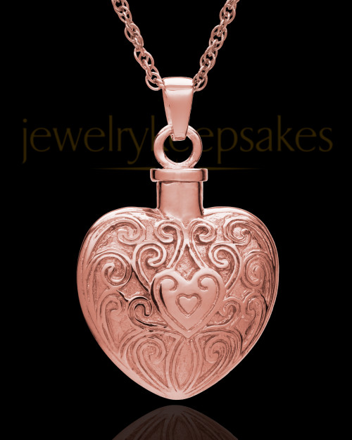 Memorial Pendant 14K Rose Gold Love Filigree Heart