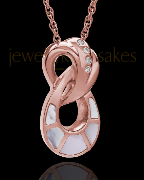 Infinity with Swarovski Stones Mother of Pearl Ash Pendant in 14K Rose Gold
