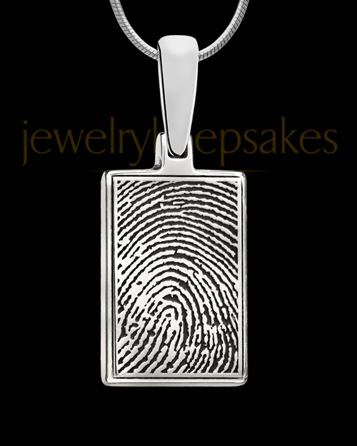 Sterling Silver Rectangle Thumbprint Pendant