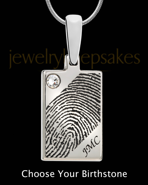 Silver Birthstone Rectangle Thumbprint Pendant