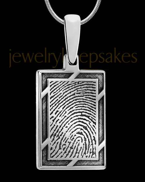 Framed Rectangle Sterling Thumbprint Pendant
