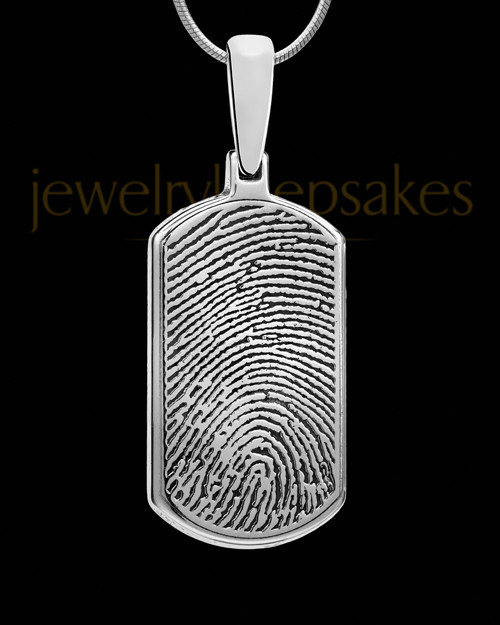 Sterling Silver Dog Tag Thumbprint Pendant