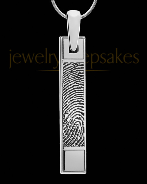 Sterling Silver Bar Thumbprint Pendant