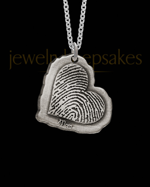 Antiqued Sterling Silver Heart Thumbprint Pendant