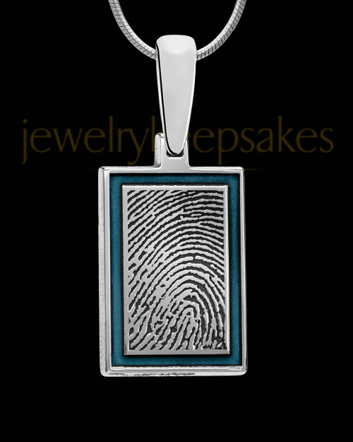 Persian Blue Framed Rectangle Sterling Silver Thumbprint Pendant