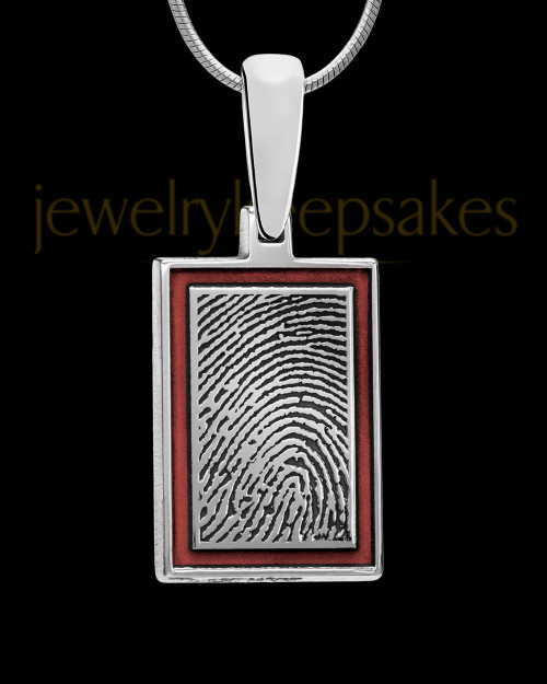 Blush Red Framed Rectangle Sterling Silver Thumbprint Pendant