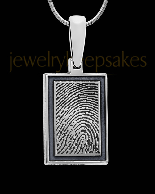Smoky Silver Framed Rectangle Sterling Silver Thumbprint Pendant