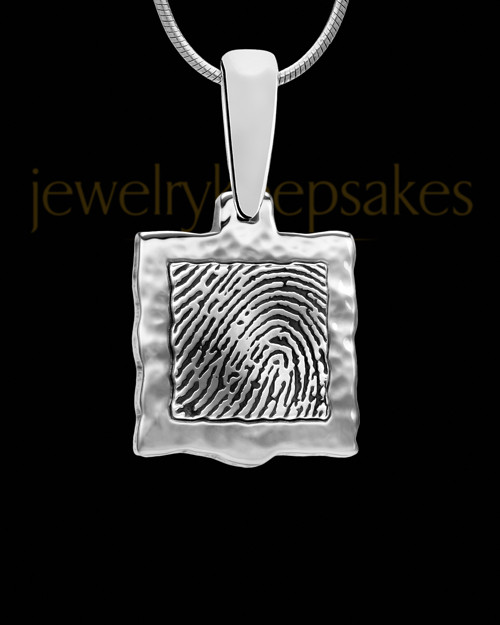 Square Hammered Sterling Silver Thumbprint Pendant