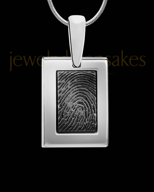 Sterling Silver-framed Black Plated Thumbprint Pendant
