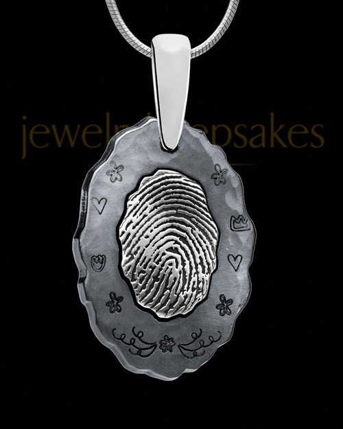 Black Plated Thumbprint Pendant Decorated Oval