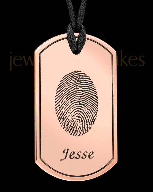 Copper Dog Tag Thumbprint Pendant