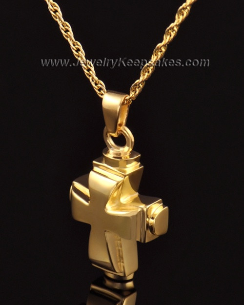 Memorial Necklace 14k Gold Classic Cross