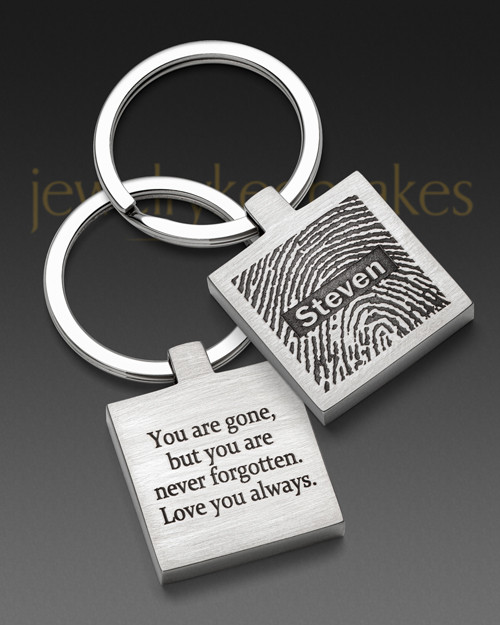 Stainless Steel Square Thumbprint Keychain
