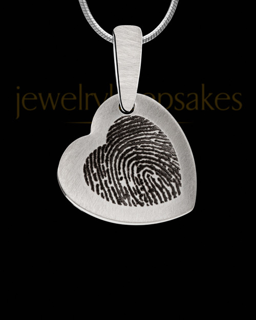 Heart Brushed Stainless Thumbprint Pendant
