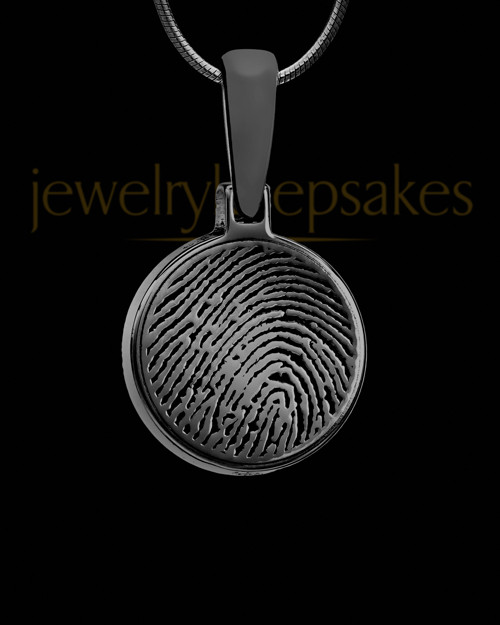 Black Plated Round Thumbprint Pendant
