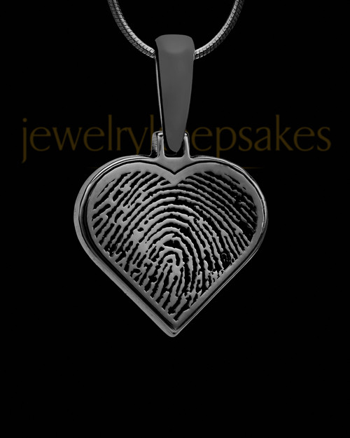 Thumbprint Heart Black Plated Pendant