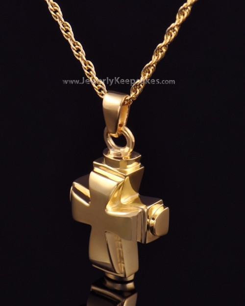 Memorial Necklace Gold Plated Classic Cross