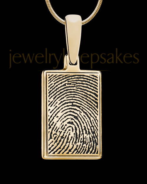 Rectangle Thumbprint Gold Plated Pendant