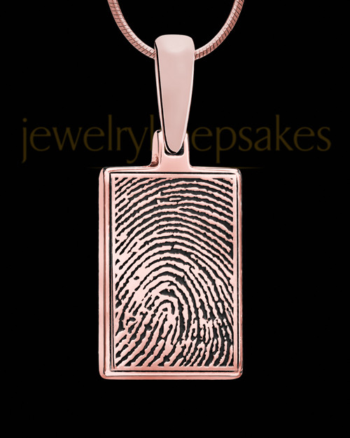 Thumbprint Rectangle Rose Gold Plated Pendant
