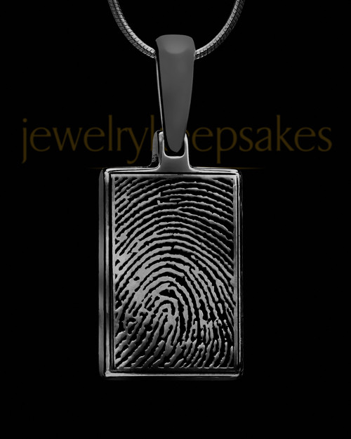 Black Plated Thumbprint Rectangle Pendant