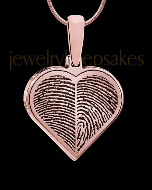 Two-thumbprint Rose Gold Plated Silver Heart Pendant