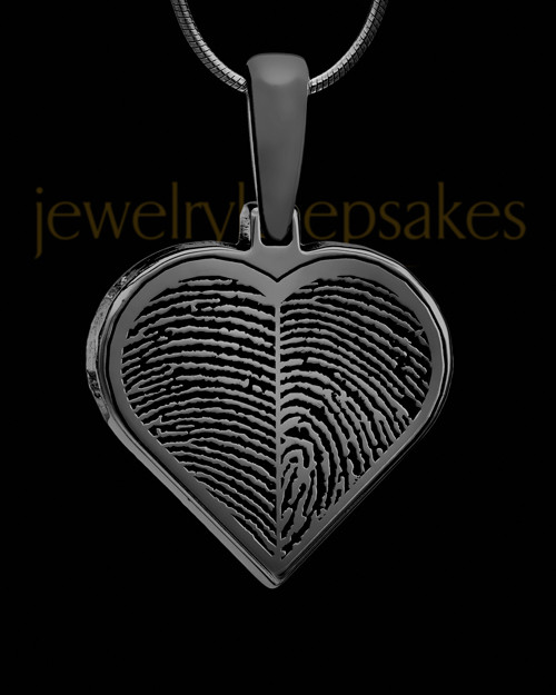 Two-thumbprint Sterling Silver Black Plated Pendant