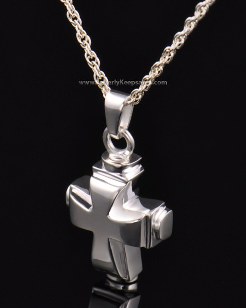 Memorial Necklace Sterling Silver Classic Cross