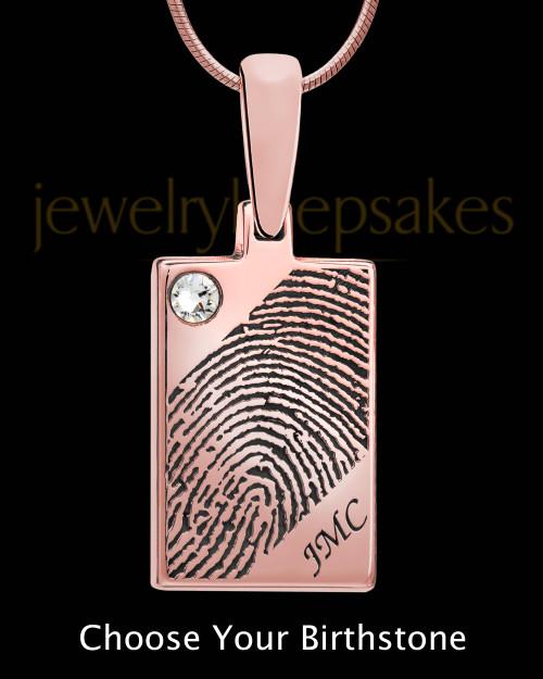 Birthstone Rose Gold Plated Rectangle Thumbprint Pendant