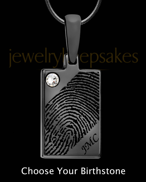 Black Plated Thumbprint Rectangle Pendant with Birthstone