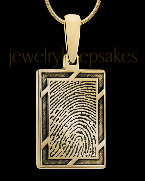 Framed Gold Plated Rectangle Thumbprint Pendant