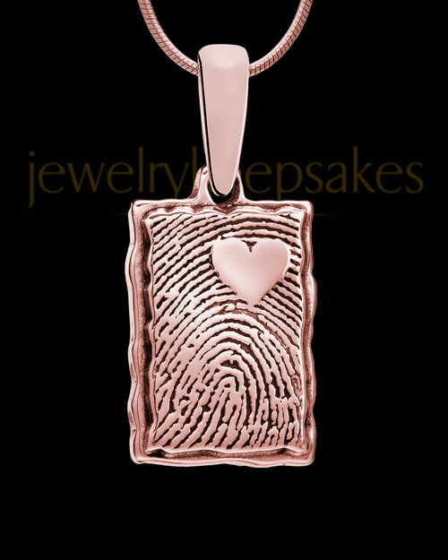 My Love Rose Gold Plated Rectangle Thumbprint Pendant