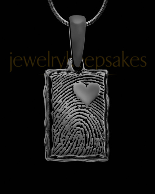 My Love Rectangle Thumbprint Black Plated Pendant