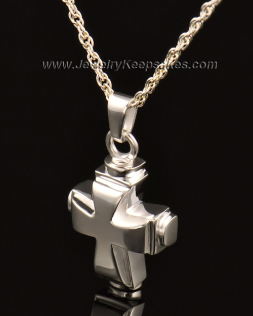 Memorial Necklace 14k White Gold Classic Cross