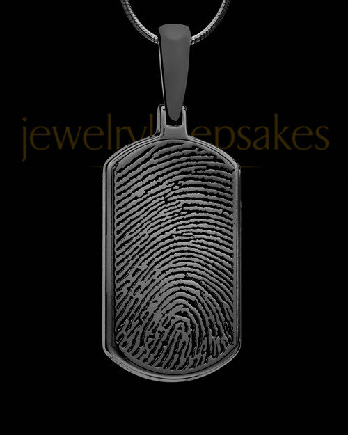 Black Dog Tag Thumbprint Pendant