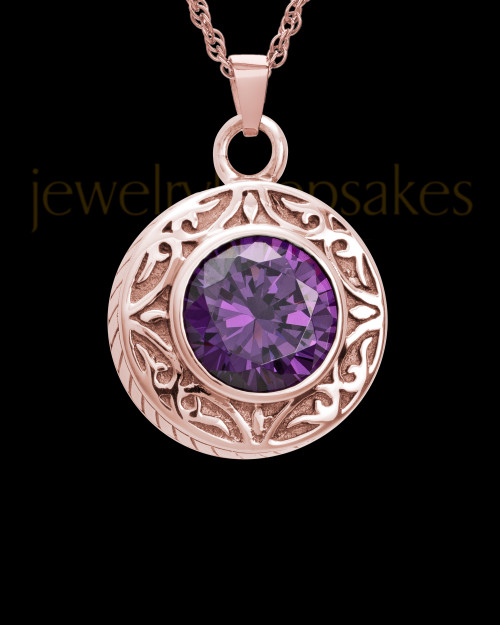 Keepsake Cremation Jewelry 14K Rose Gold Plum