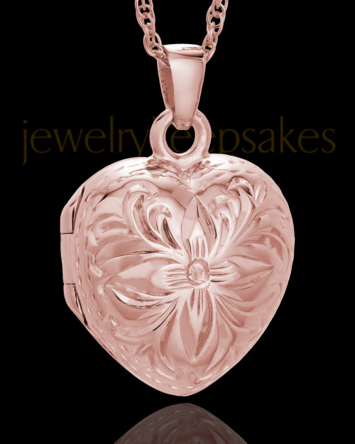 Cremation Jewelry 14K Rose Gold Daisy Heart Keepsake