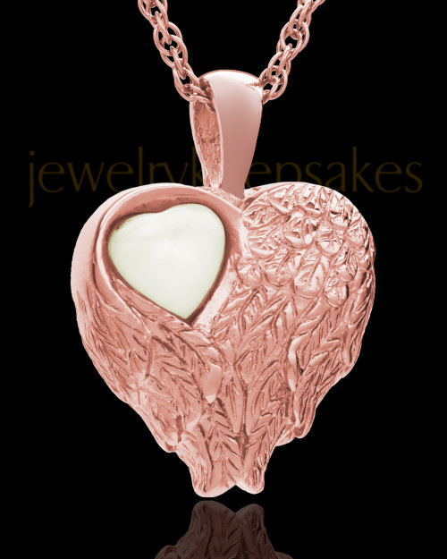 Cremation Jewelry 14k Rose Gold Forever Loved Heart Keepsake