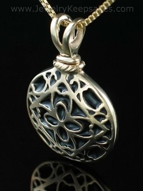 Cremation Urn Jewelry 14K Gold Filigree Round