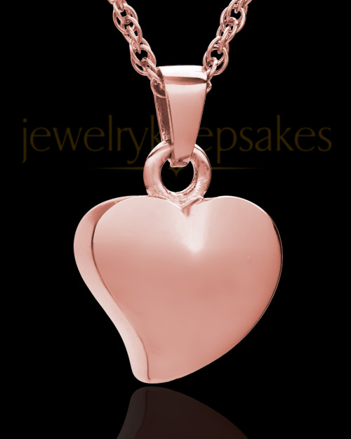 Jewelry Urn 14k Rose Gold Mighty Heart Keepsake