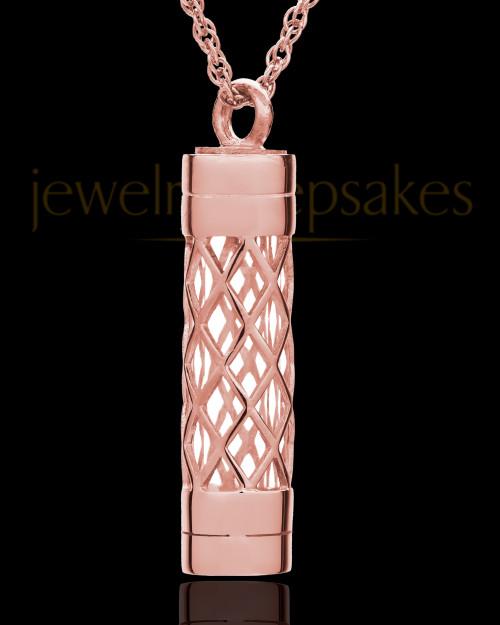 14K Rose Gold Adoration Cylinder Cremation Pendant