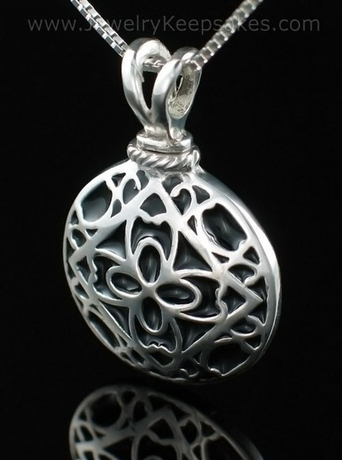 Cremation Urn Jewelry Sterling Silver Filigree Round