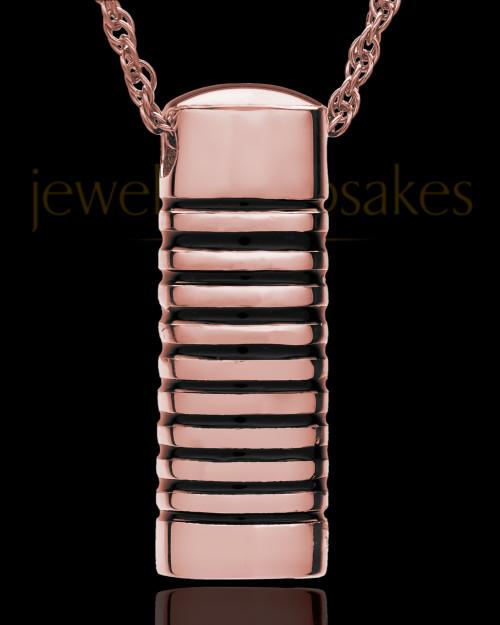 Cremation Urn Pendant 14K Rose Gold Grooved Cylinder Keepsake