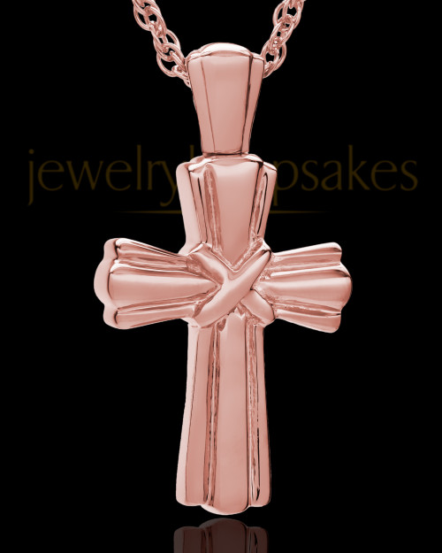 Cremation Ash Jewelry Antique 14K Rose Gold Wrapped Cross