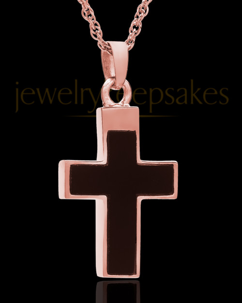 14K Rose Gold Cremation Necklace Cross with Onyx