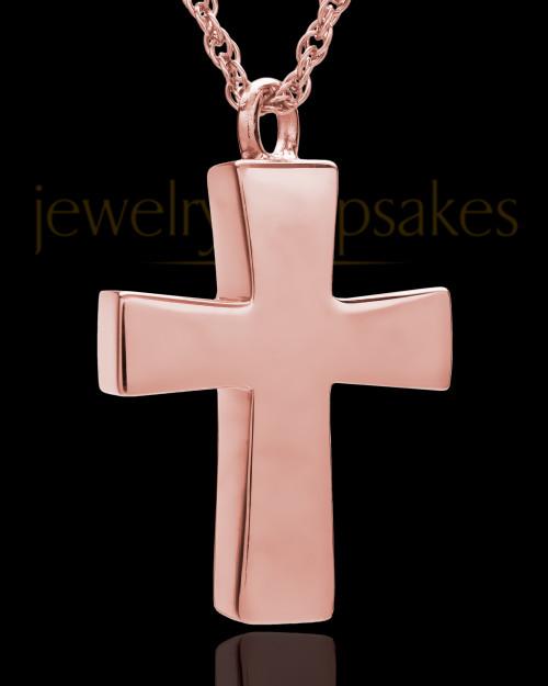 Memorial Locket 14K Rose Gold Parchment Cross Keepsake