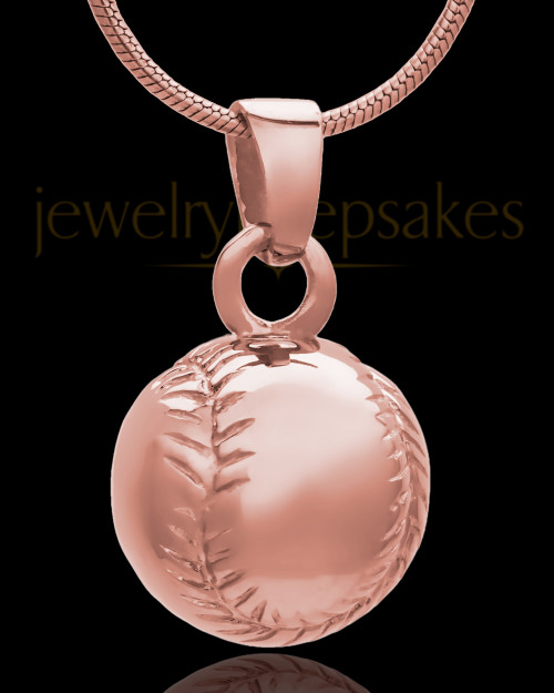 Baseball Urn Pendant in 14 Karat Rose Gold