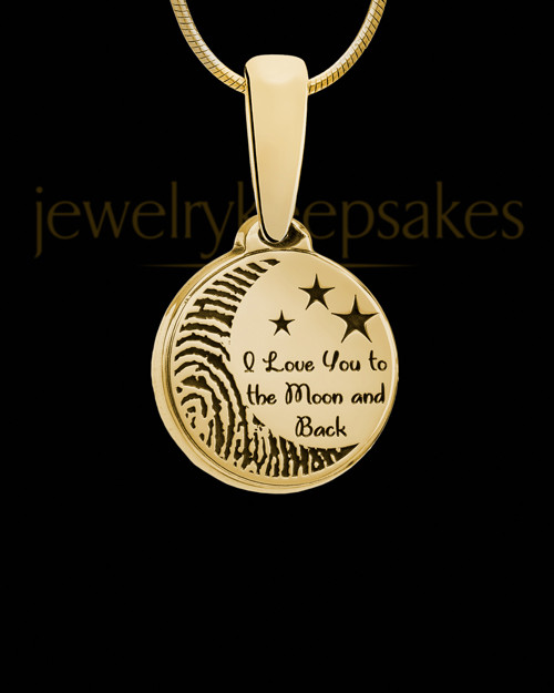 To the Moon and Back Gold Plated Thumbprint Pendant