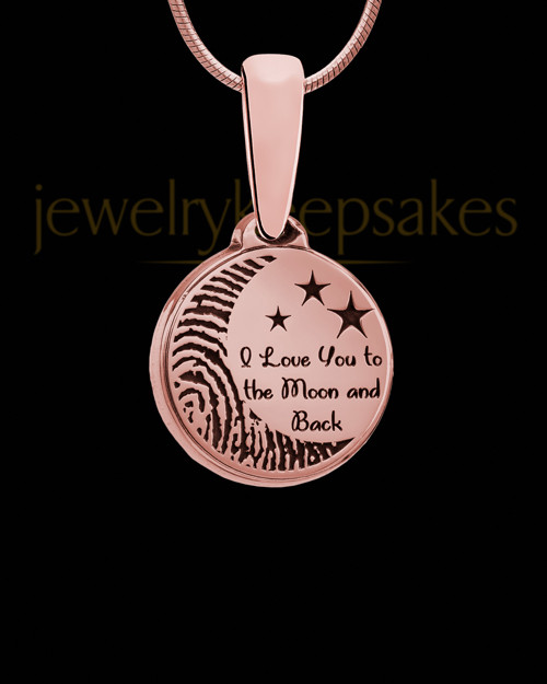 To the Moon and Back Thumbprint Rose Gold Plated Pendant